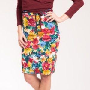 Agnes & Dora Pencil Skirt, XXS Green Floral